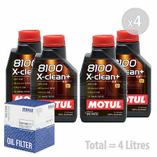 Engine Oil and Filter Service Kit 4 LITRES Motul 8100 X-Clean+ 5W-30 4L
