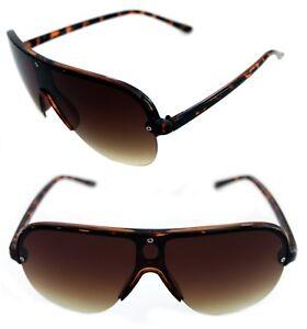Men's Hip Hop Shield Stunna Shades Aviator Vintage Brown 80's Swag Sunglasses