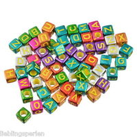 LP 300 Mix Bunt Acryl Buchstaben Quadrat Würfel Perlen Spacer Beads 6mmx6mm