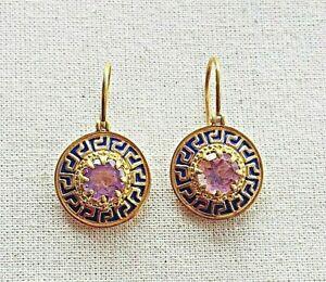 Stunning  Amethyst Vermeil 14k Gold Over Sterling Silver Enameled Earring