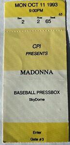 SUPER RARE MADONNA PRESS BOX TICKET-MINT OCT 93-GIRLIE SHOW TOUR