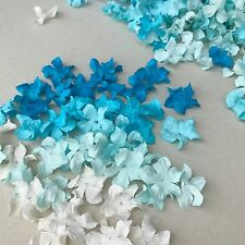 100 Blue and White Gardenia Petals Mulberry Paper Flowers Embellishment