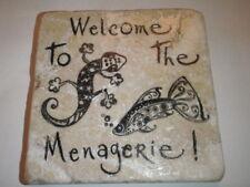 Unusual Handmade Stone Tile Coaster/Menagerie/Fish/Lizard/Gifts/Xmas