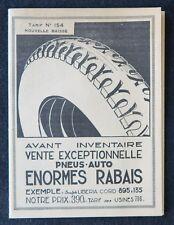 Brochure publicitaire 1927 AUTO-ACCESSOIRES pneu tarif n°154 automobilia