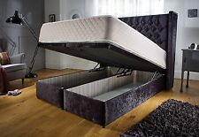 Crush velvet storage bed with 55 inches headboard height