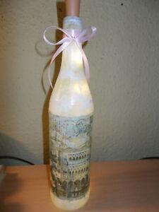 1 Deko Licht/Leuchtflasche Venedig Post Card Shabby LED Flaschenlicht