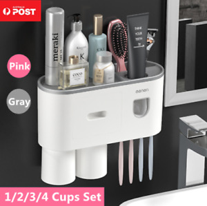 Multifunctional Toothbrush Holder Handfree Automatic Toothpaste Dispenser Set AU