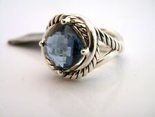 David Yurman 11mm Hampton Blue Topaz Infinity Ring Sterling Silver Size 7 NWT