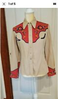 1940s Vintage, Custom made, embroidered western shirt . Cowgirl.