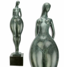 BRONZE AKT FIGUR, nackte FRAU ca.72cm ABSTRACT NUDE LADY (GREEN PATINA) on BASE
