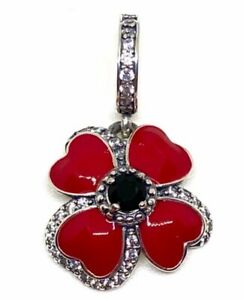 RED POPPY FLOWER REMEMBRANCE MEMORIAL CHARM 925 STERLING SILVER GIFT 💜💛💜