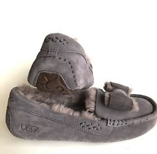 UGG Australia Women Ansley Suede Twinface Bow Lavender Moccasin Slipper Size 7