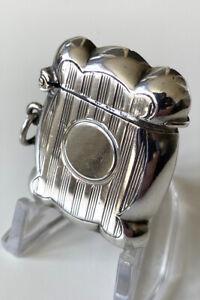 Antique Sterling Silver Vesta Case - 1903 - William Hutton & Sons - Excellent