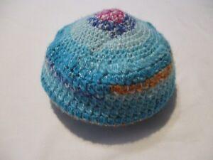 Kid's Crochet Aqua, Blue, Pink, and Orange Beret Hat