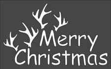 1- 5x8 inch Custom Cut Stencil, (TF-67) Merry Christmas Antlers