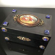 Coffret NAPOLEON III Porcelaine Romantique Cabochons XIXè 19thC VICTORIAN Box