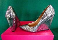 New Silver Mirror Black Reptile Print Uk 7 40 'Call it Spring' High Wedge Shoes