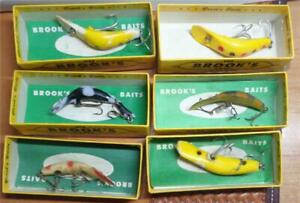 Lot 6 Brook Fishing Lures w/Box's and 4 Inserts
