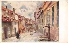 Praha Prague Czechoslovakia Street Scene Golden Lane Antique Postcard J66018