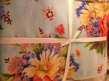 APRIL CORNELL TABLECLOTH 70 INCH ROUND BLUE ORANGE FLORAL 100% COTTON NIP
