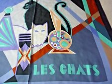 "BOB MACKIE LES CHATS Silk Scarf New Wearable Art Cats Large Square 40"" NWOT"