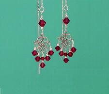 *CKstella*  Heart Chandelier Red Crystal Sterling Silver Thread Threader UPick