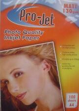 A4 MATT Matte INKJET PHOTO 130 gsm PAPER 100 Sheets  for Inkjet Printer