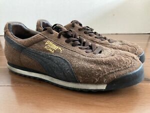 PUMA ROMA BROWN BLACK SUEDE SHOES SNEAKERS MEN'S ATHLETIC COURT CLASSIC VTG GOLD