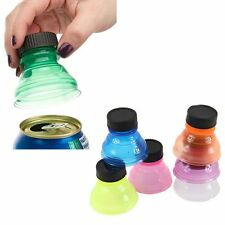 6 X REUSABLE FIZZY DRINK SNAPPY SNAP BOTTLE TOP CAP COVER DRINK LID FOR CAN CANS