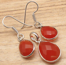 Red Jewelry Matching Set, 925 Silver Plated CARNELIAN Drop Earrings & Pendant