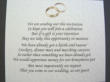 20 Wedding poems asking for money gifts not presents Ref No 7