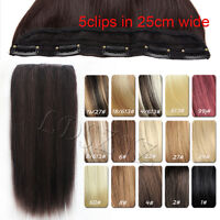 """Clip In Remy Hair Extension Full Head Straight one Piece 100G 14"""" 15"""" 16""""-30"""""""
