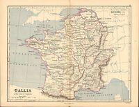 1886 Antiguo Mapa ~ Gallia Time Of Augustus~ Francia Aquitania Belgica Germania
