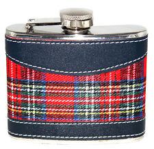Scottish Red Tartan 4oz Hip Flask Stainless Steel Men Wedding Gifts Present