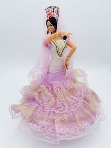 "Vintage Marin Chiclana Espana Flamenco Woman Dancer Light Violet Dress 11"" Doll"