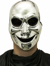 Morris Costumes Sinister Ghost Silver Plastic Face Netted Eyes Mask. MR031319