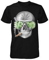 Weed Skull T-Shirt Neu Weed Smoke Marihuana Cannabis Blunt Geek Swag Hanf kush