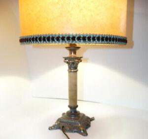 Lampe à Colonne Corinthienne en Onyx et Metal sculpté XIXe DECO VINTAGE CHIC