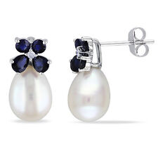 10k White Gold 8.8.5 mm Cultured Freshwater Pearl Sapphire and Diamond Earrings