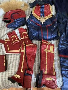 Captain Marvel Costume, Jumpsuit, Vest, Belt, Boot Covers, Gloves, Wrist covers