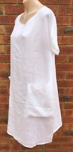 White short sleeve front pocket loose fit linen dress NWT sizes 10 12 14 16 18