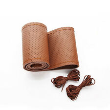 Brown Breathable Genuine Leather DIY Stiched Sewing Car Steering wheel Cover