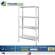 4 Shelf Metal Garage Shed Storage Unit Galvanised Steel 50kg Shelving Book Rack