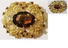 broche Bijou vintage signé SARAH COV cristaux cabochon pierre taillé * 4964