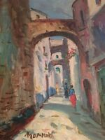 STREET SCENE SIGNED  Original Oil Painting on CANVAS  Modern Mid Cent