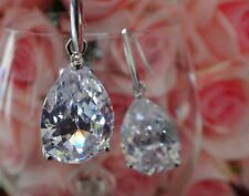 Wedding Bridal Swarovski Element Clear Crystal Tear Drop Silver Earrings!NEW