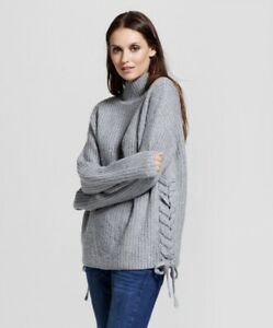 NWT Mossimo Gray Turtleneck Ribbed Sweater Size XS