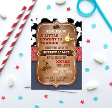 Cowboy/Cowgirl Birthday Party Invitations *Any Age* - pack of 10 with envelopes