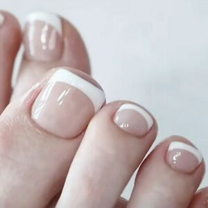 Summer French White Tips False Toe Nails Short Full Detachable Press on Toenails