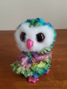 """TY BEANIE BOOS - OWEN the 6"""" TIE DYED OWL - MINT with MINT TAGS 2017"""